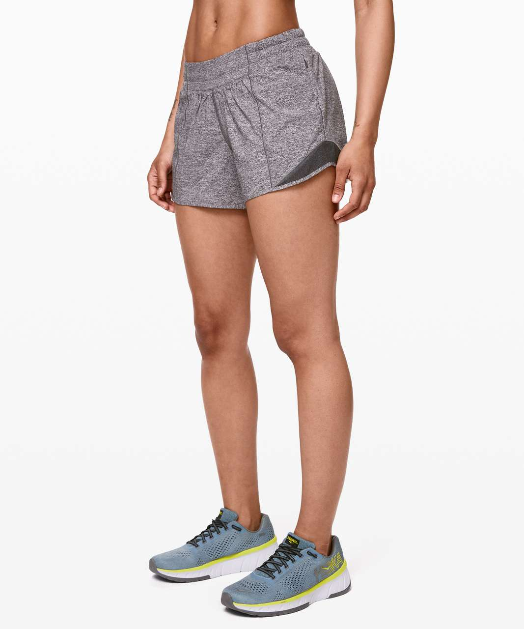 "Lululemon Hotty Hot Short II *Long 4"" - Heather Lux Multi Black / Heathered Black"