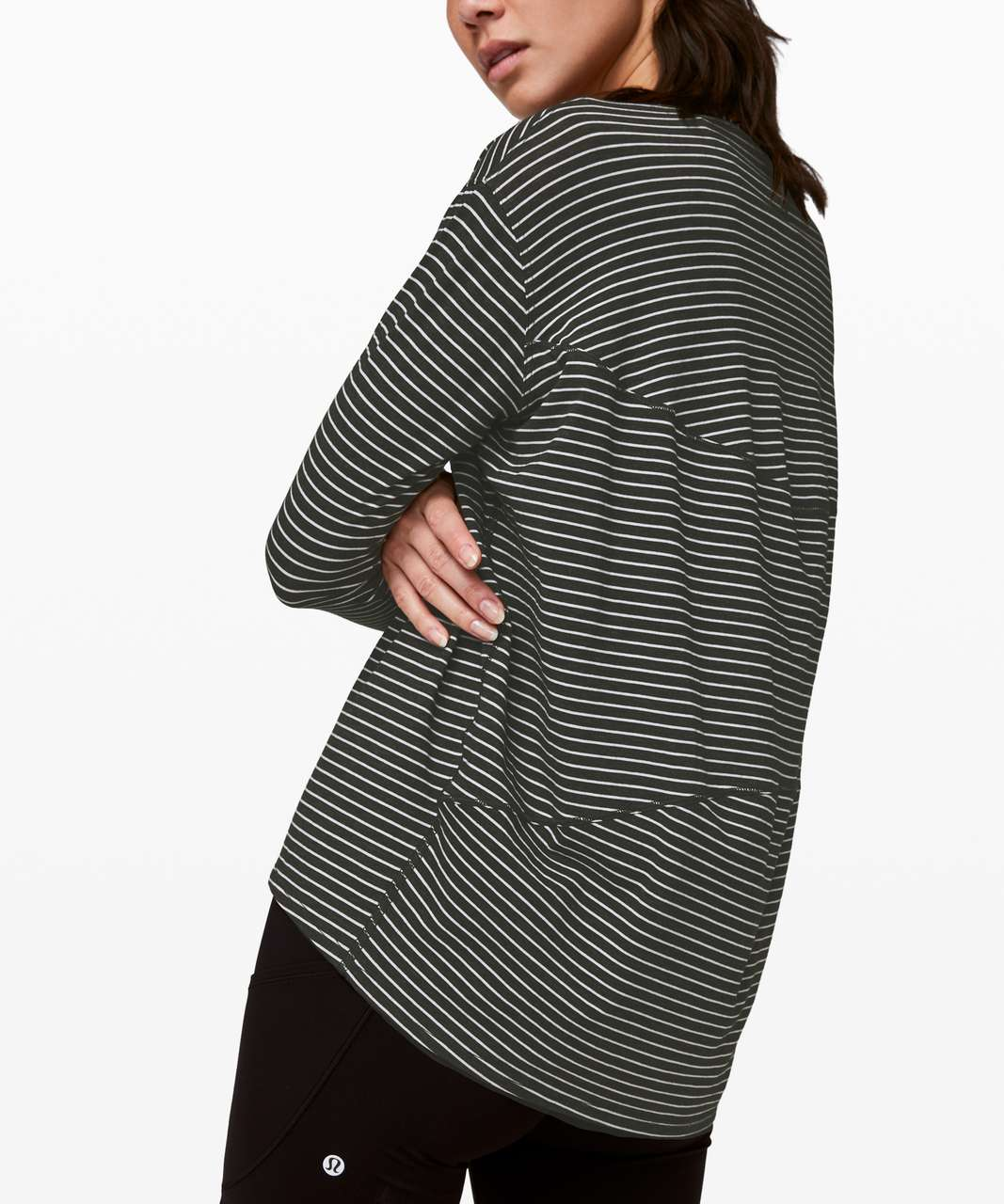 Lululemon Back In Action Long Sleeve - Modern Stripe Heathered Black White