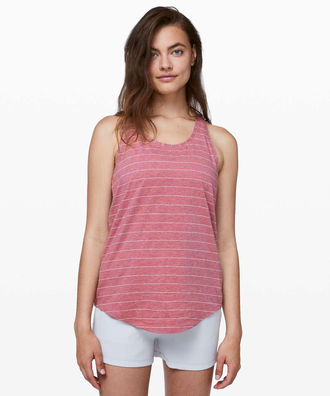 Lululemon Love Tank *Pleated - Short Serve Stripe Heathered So Merlot White