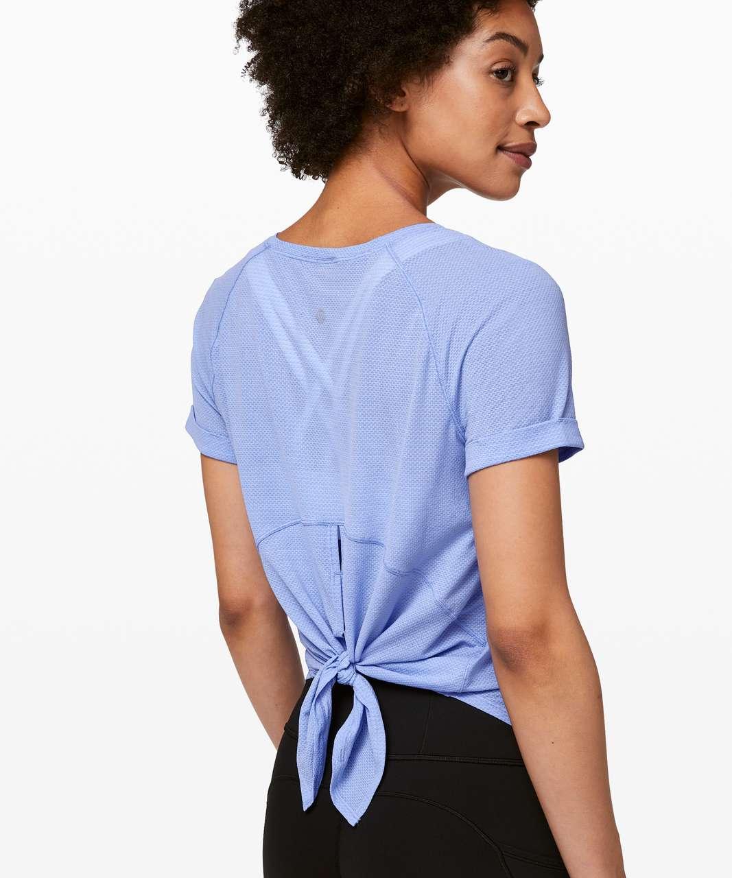 Lululemon Open Up Tie Back Tee - Black / Hydrangea Blue