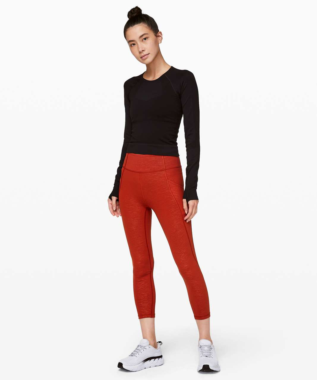 "Lululemon Time To Sweat Crop *23"" - Stride Emboss Cayenne"