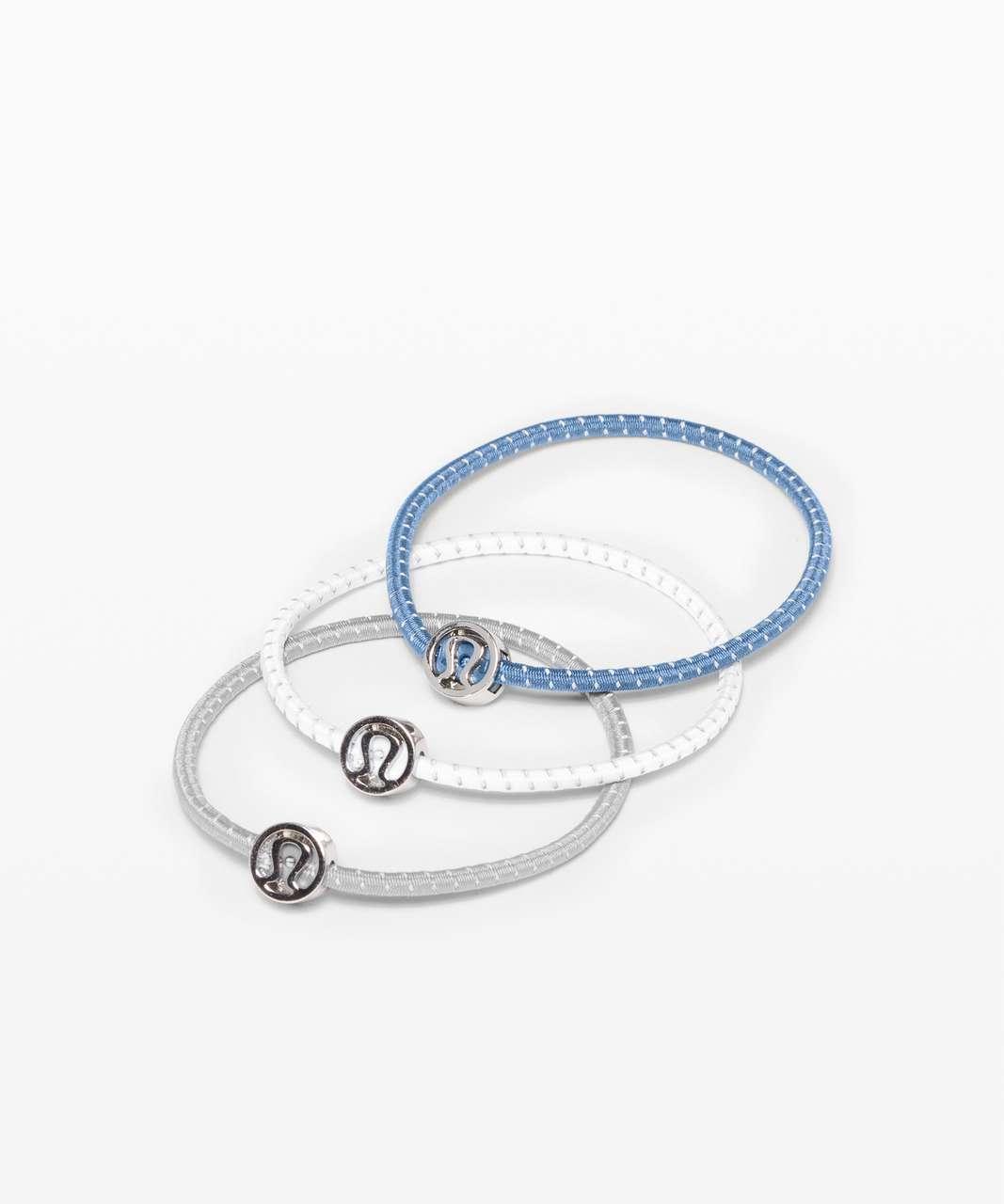 Lululemon Glow On Hair Ties - Glacier Grey / Code Blue / White
