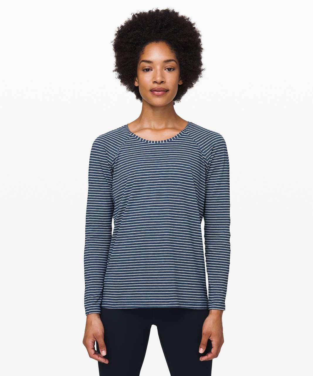 Lululemon Emerald Long Sleeve - Modern Stripe Heathered Code Blue White