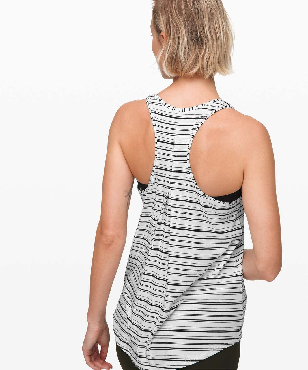 Lululemon Love Tank *Pleated - Cut Back Stripe White Black