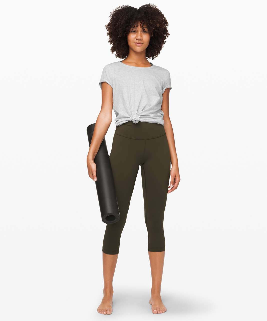 "Lululemon Wunder Under Crop (High-Rise) *Full-On Luon 21"" - Dark Olive"