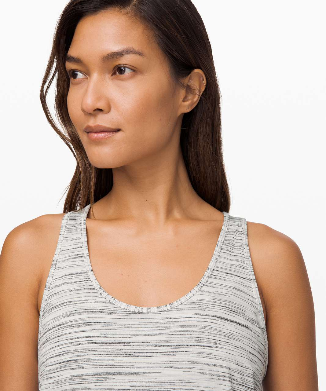 Lululemon Essential Tank Pleated *Seriously Light Luon - Space Dye Camo White Silver Spoon