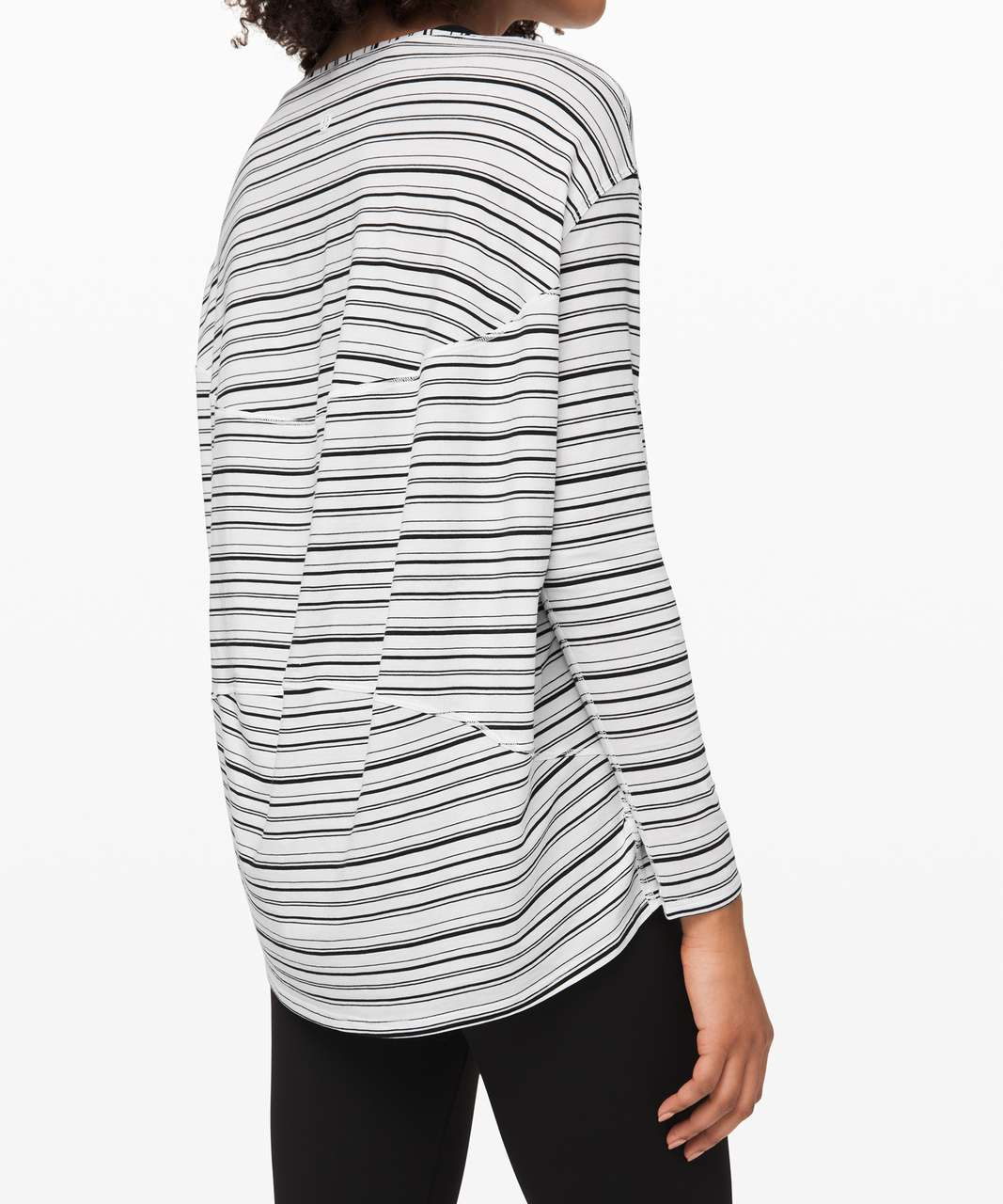 Lululemon Back In Action Long Sleeve - Cut Back Stripe White Black