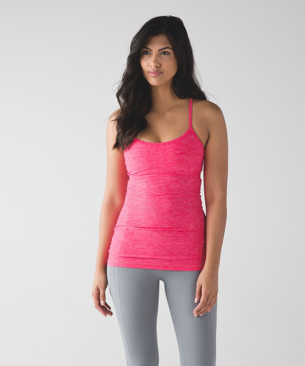 Lululemon Power Y Tank (Luon) - Heathered Neon Pink