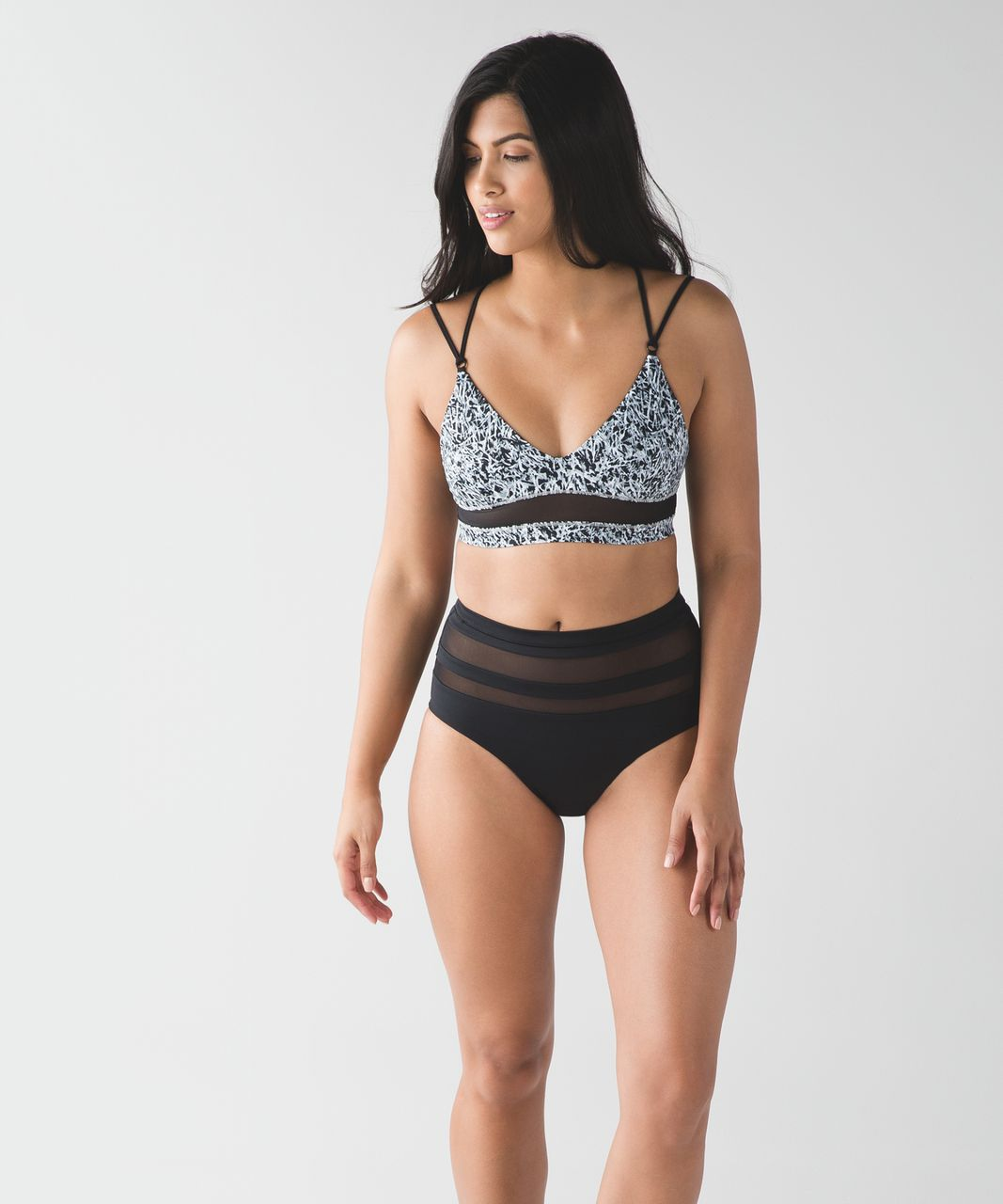 Lululemon Go With The Flow Top - Mini Ripple White Seal Grey / Black