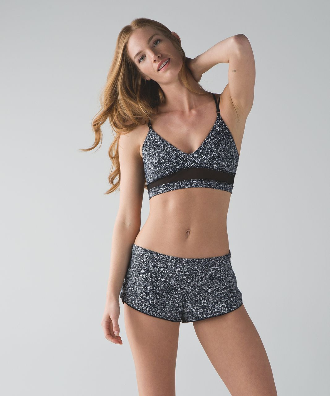 Lululemon Go With The Flow Top - Freckle Flower Black White / Black