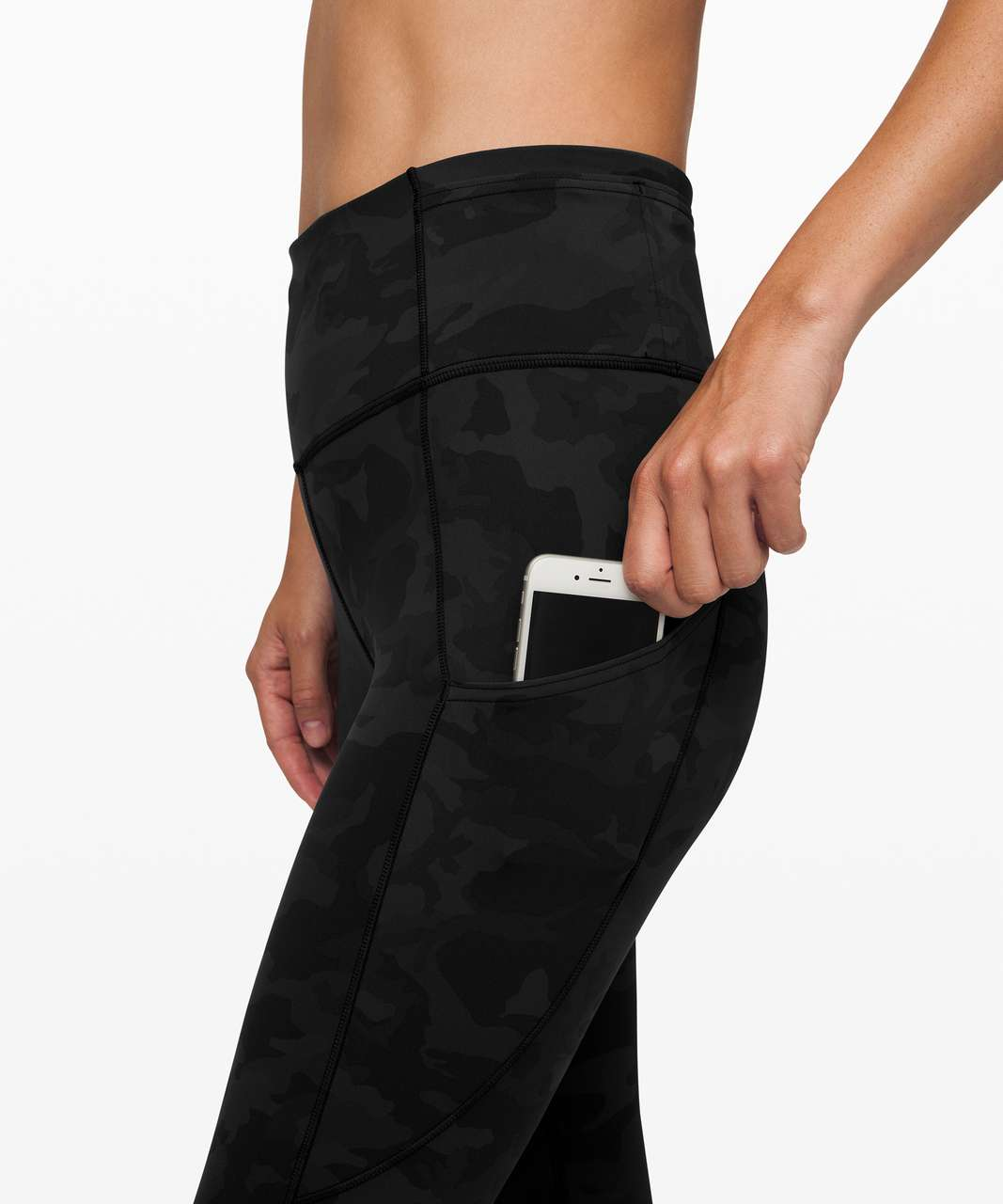 """Lululemon Fast and Free High-Rise Crop II 23"""" *Reflective - Incognito Camo Multi Grey"""