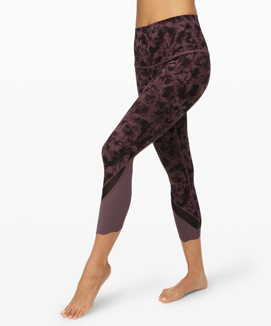 "Lululemon Wunder Under Crop II *Roll Down Scallop Full-On Luxtreme 24"" - Mini Dusk Floral Antique Bark Black / Black / Antique Bark"