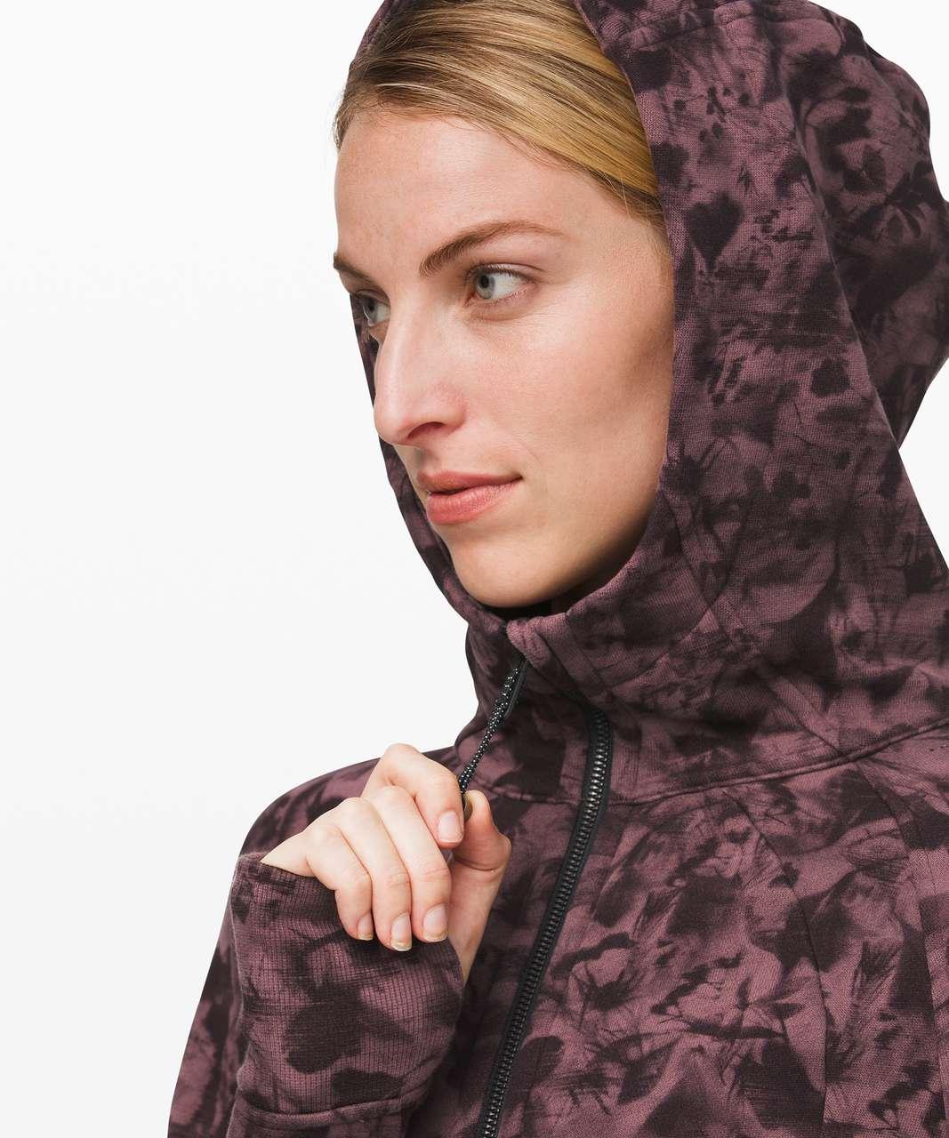 Lululemon Scuba Hoodie *Light Cotton Fleece - Mini Dusk Floral Antique Bark Black