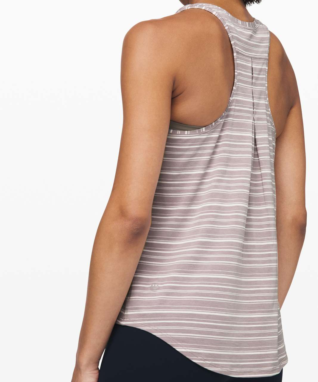Lululemon Love Tank *Pleated - Cut Back Stripe Light Chrome Dark Chrome