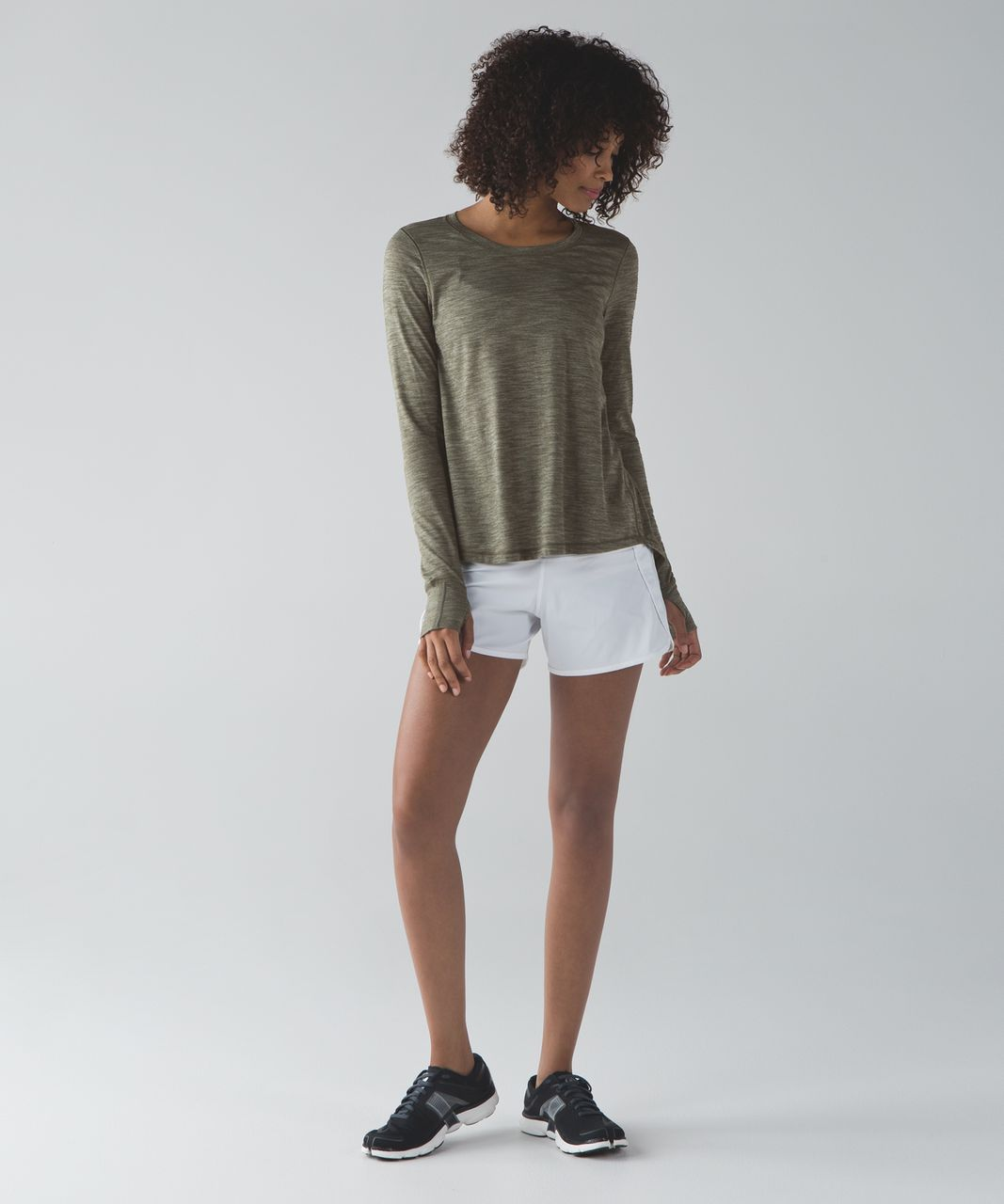 Lululemon Beat The Heat Long Sleeve - Heathered Fatigue Green