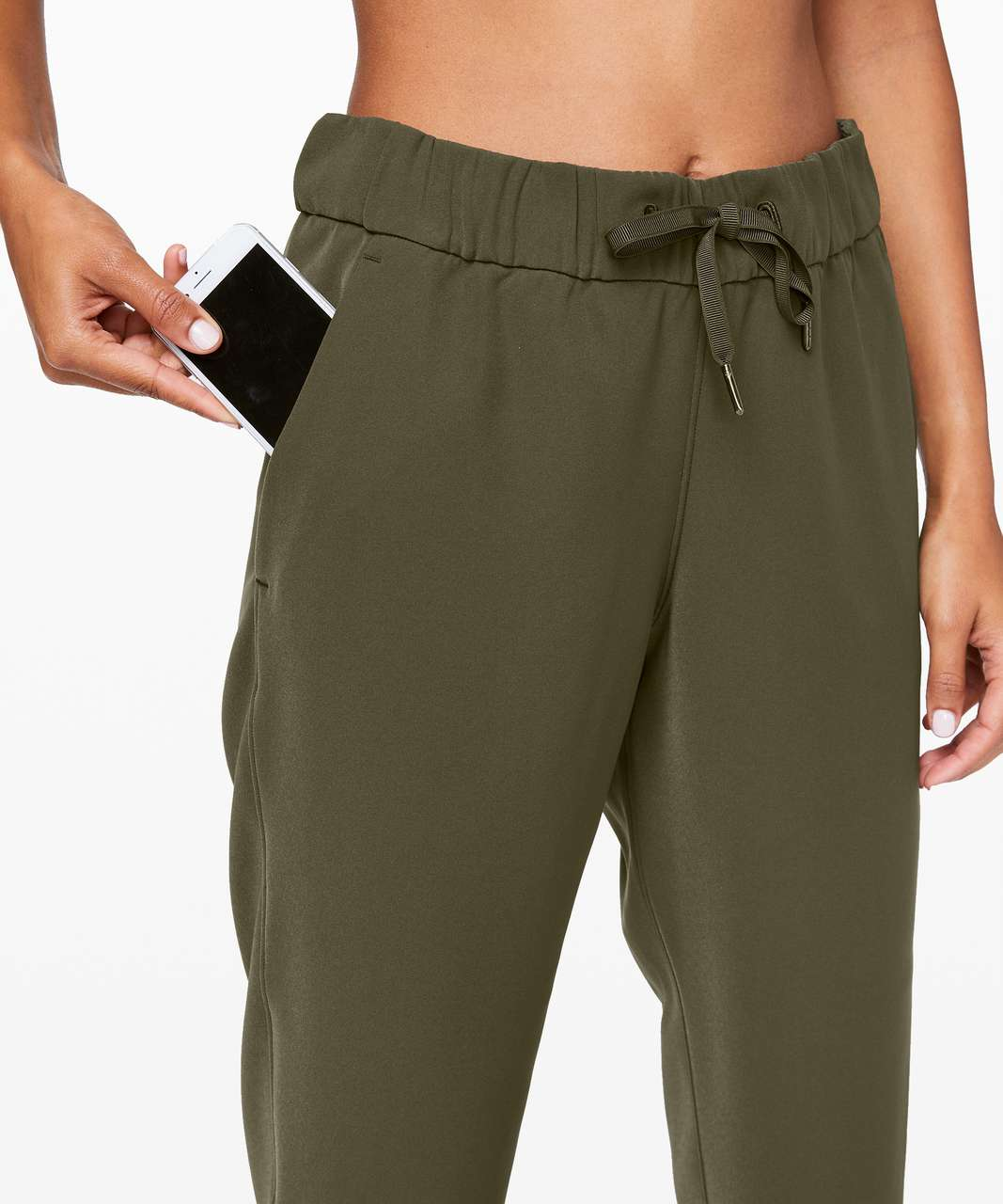 "Lululemon On the Fly Crop *Woven 23"" - Dark Olive"