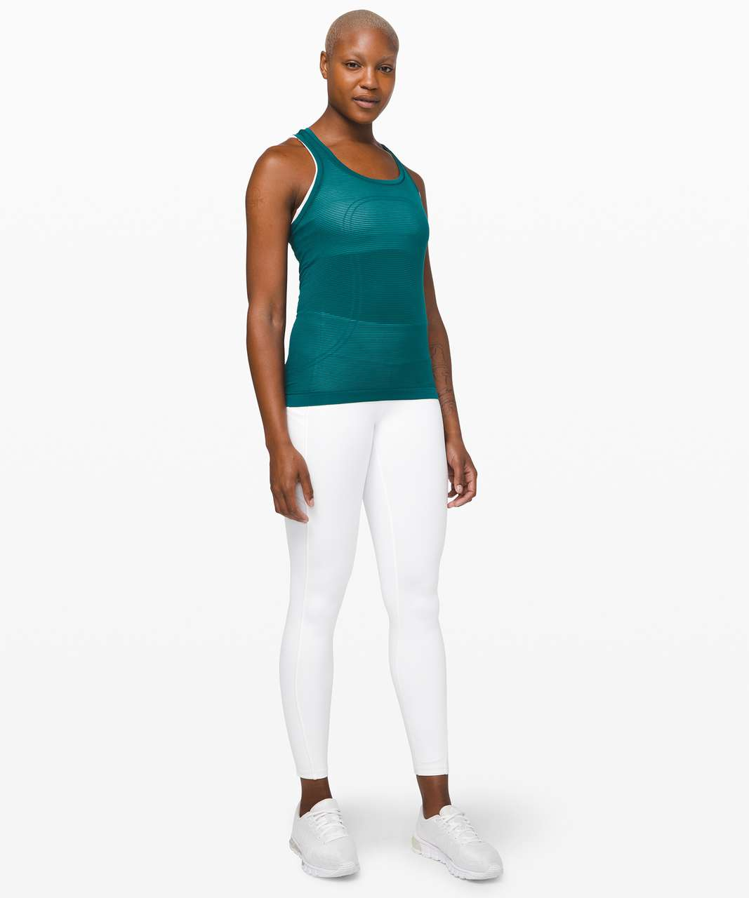 Lululemon Swiftly Speed Racerback *Sheer Stripe - Emerald / Emerald