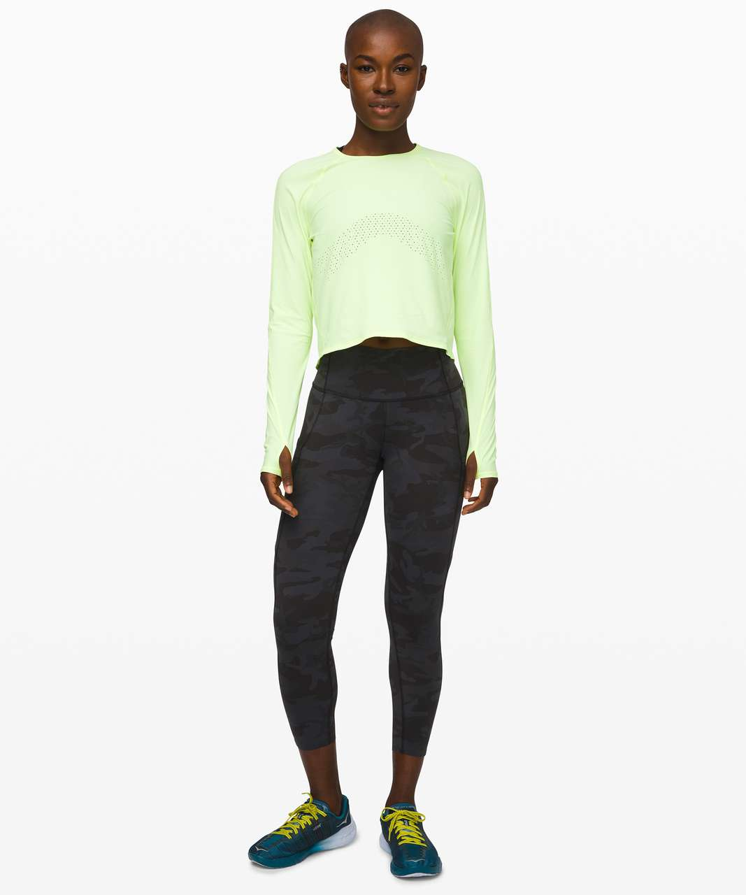 """Lululemon Fast and Free High-Rise Crop II 23"""" *Non-Reflective - Incognito Camo Multi Grey"""