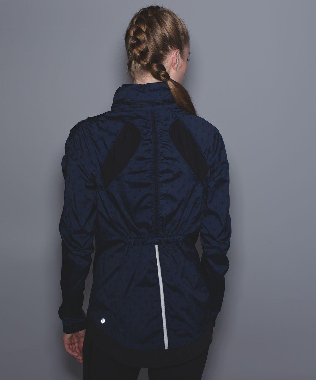 Lululemon Gather And Sprint Jacket - Ghost Dot Deep Navy Black / Black