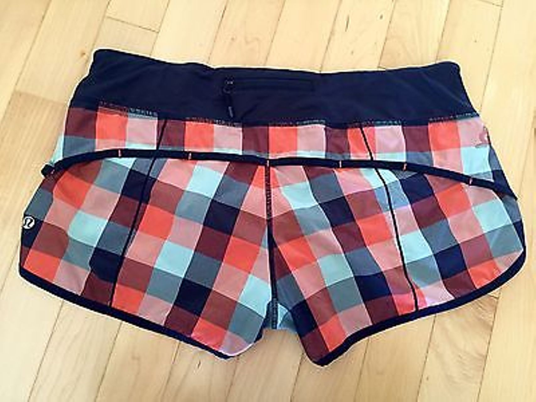 Lululemon Speed Short - Checkmate - Alarming Indigo Plaid Bronco