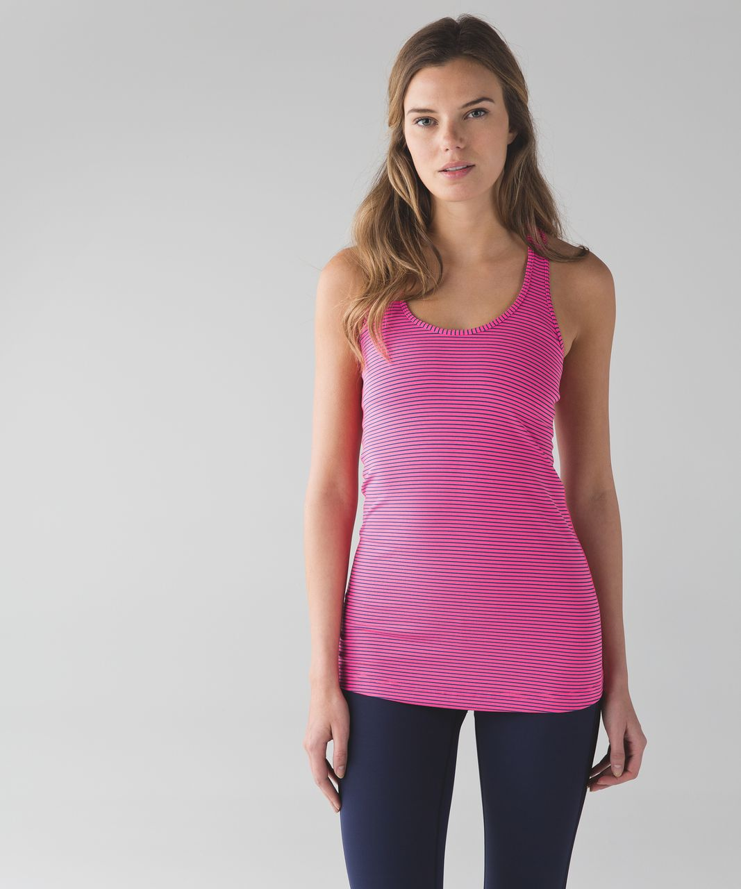Lululemon Cool Racerback - Hyper Stripe Neon Pink Rugged Blue