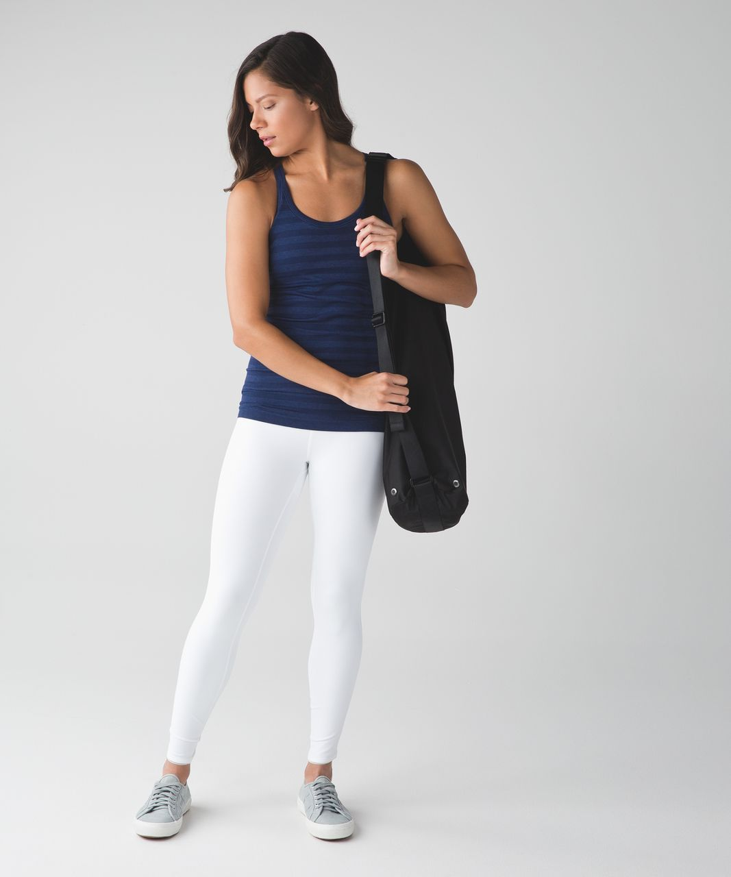 Lululemon Ebb To Street Tank - Heathered Deep Navy (Striped)