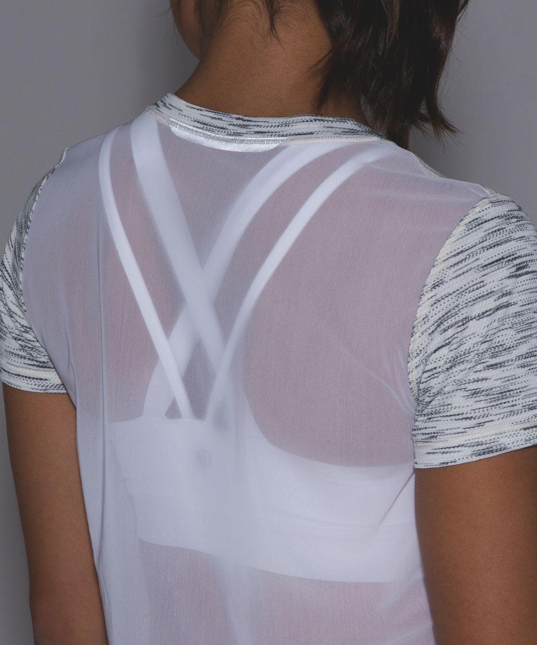 Lululemon Beat The Heat Short Sleeve (Silver) - Tiger Space Dye Black White / White