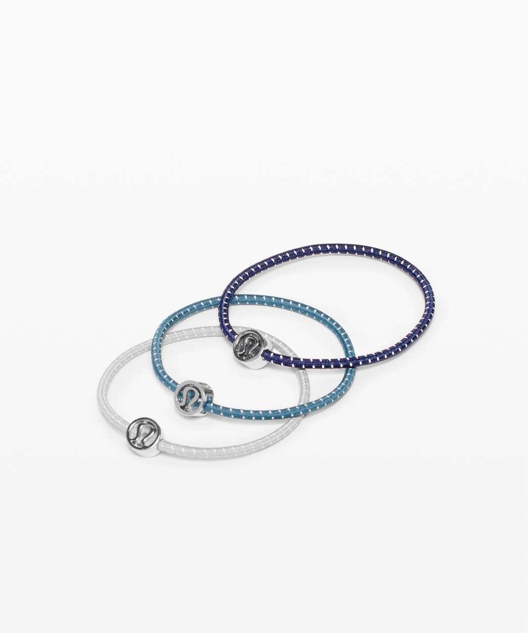 Lululemon Glow On Hair Ties - True Navy / Petrol Blue / Ice Grey
