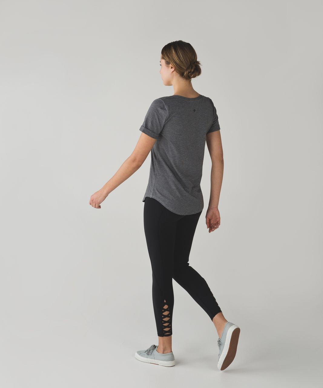 Lululemon Love Tee II - Tonka Stripe Black Heathered Medium Grey