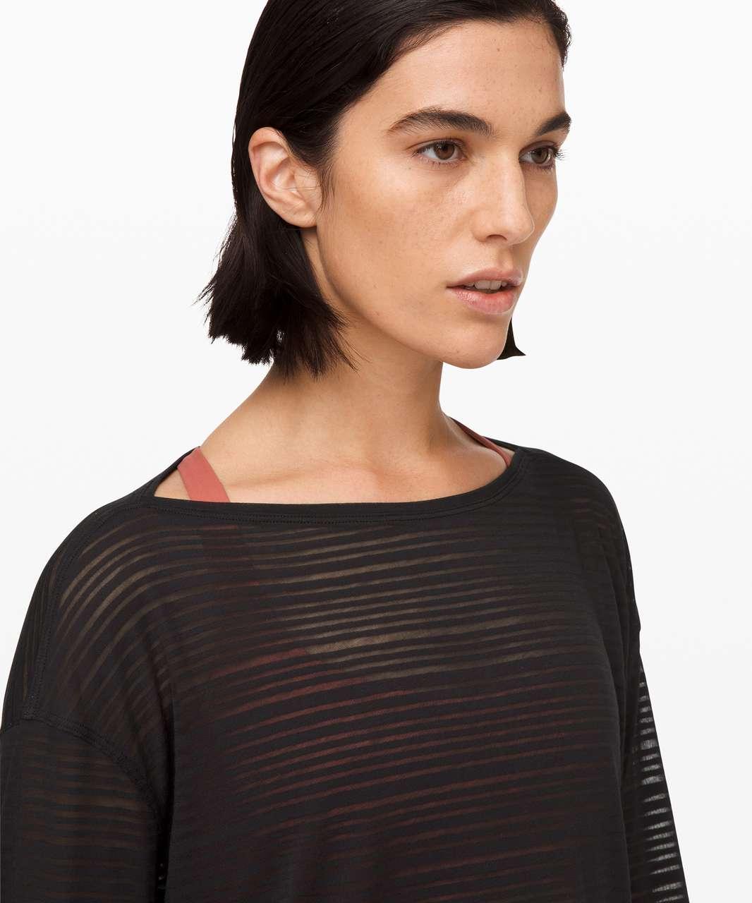 Lululemon Back in Action Long Sleeve *Sheer - Luminous Stripe Burnout Black