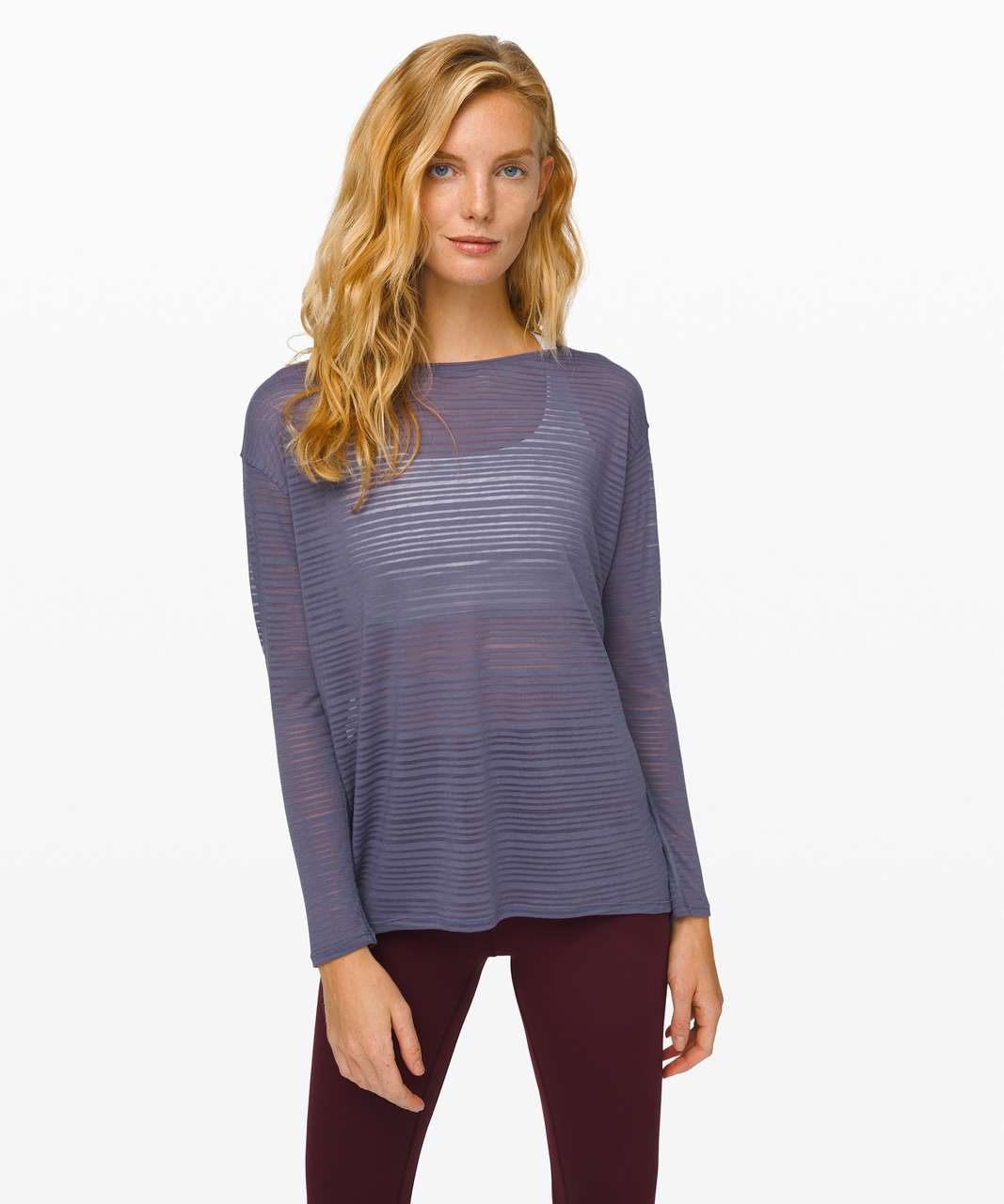 Lululemon Back in Action Long Sleeve *Sheer - Luminous Stripe Burnout Purple Quartz