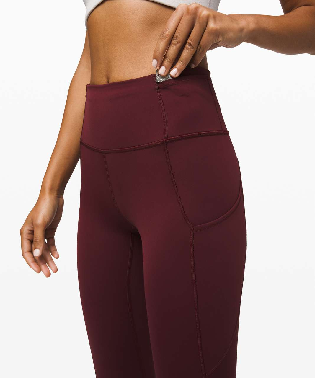 Lululemon Fast and Free High-Rise Crop II *Non-Reflective Nulux - Garnet