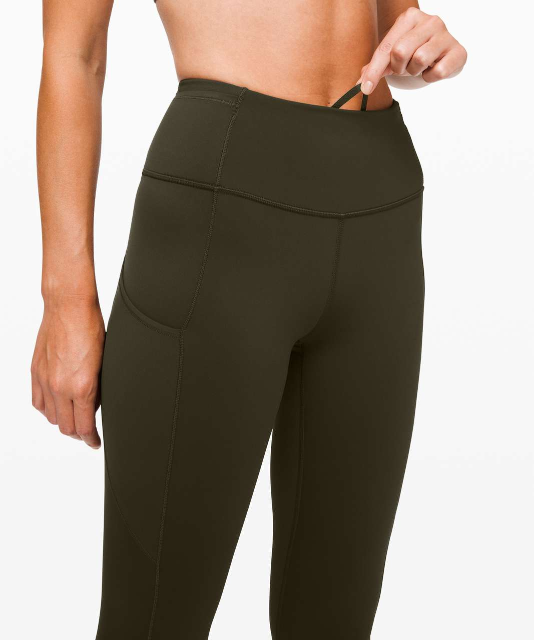 """Lululemon Fast and Free High-Rise Crop II 23"""" *Non-Reflective - Dark Olive"""
