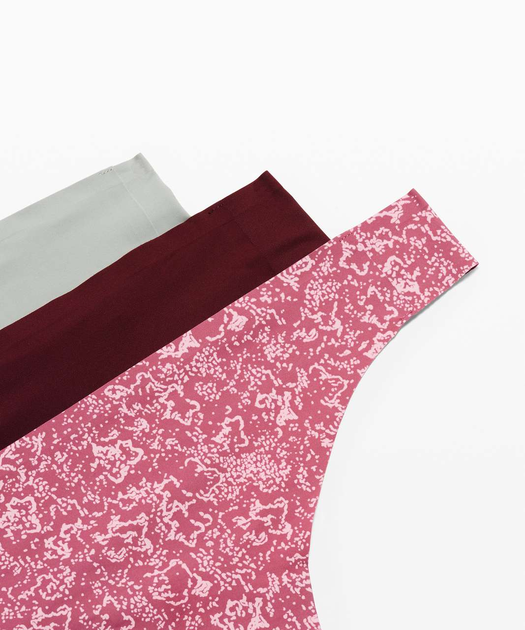 Lululemon Namastay Put Thong 3 Pack - Floral Stitch Pink Taupe Moss Rose / Garnet / Jade Grey