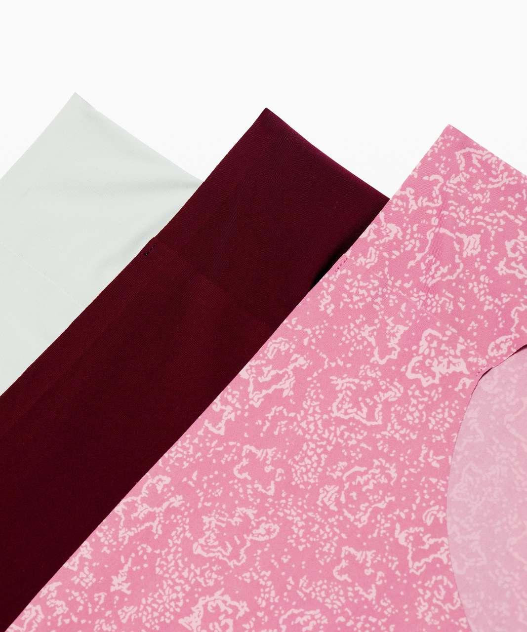 Lululemon Namastay Put Hipster 3 Pack - Floral Stitch Pink Taupe Moss Rose / Garnet / Jade Grey