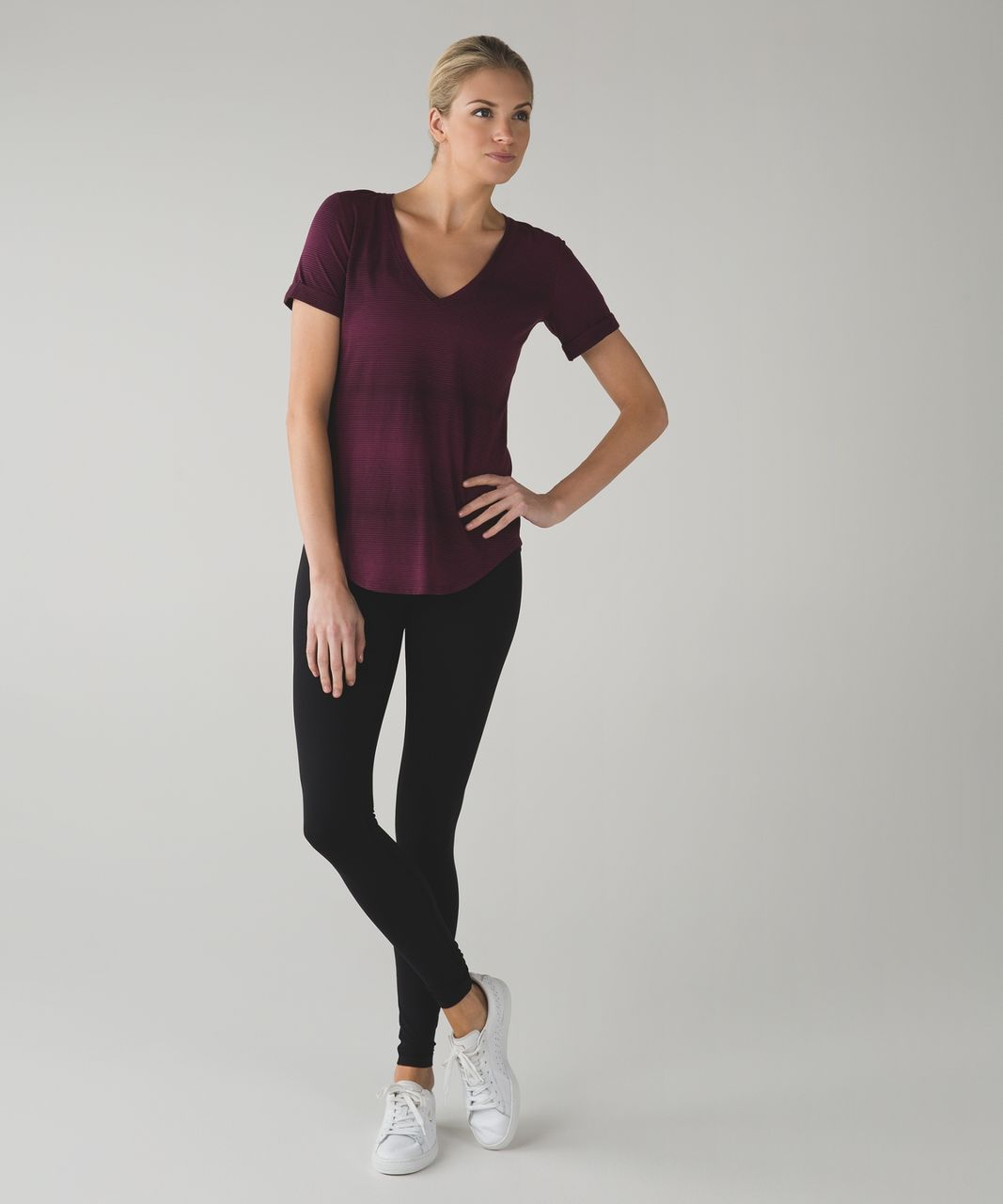 Lululemon Love Tee II - Sugar Cane Stripe Red Grape Bordeaux Drama