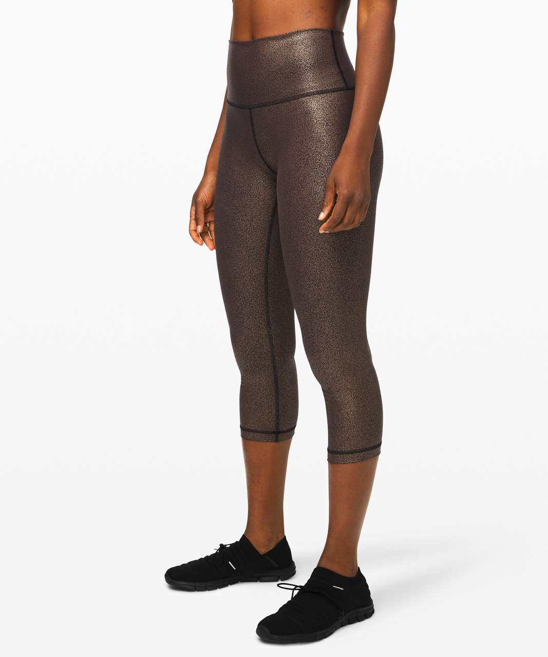 "Lululemon Wunder Under Crop High-Rise *Foil 21"" - Luminosity Foil Print Black Copper Foil"