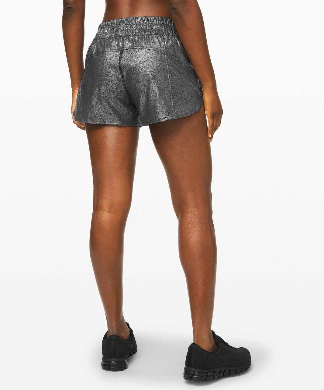 "Lululemon Tracker Short V *4"" Foil - Luminosity Foil Print Black Silver"