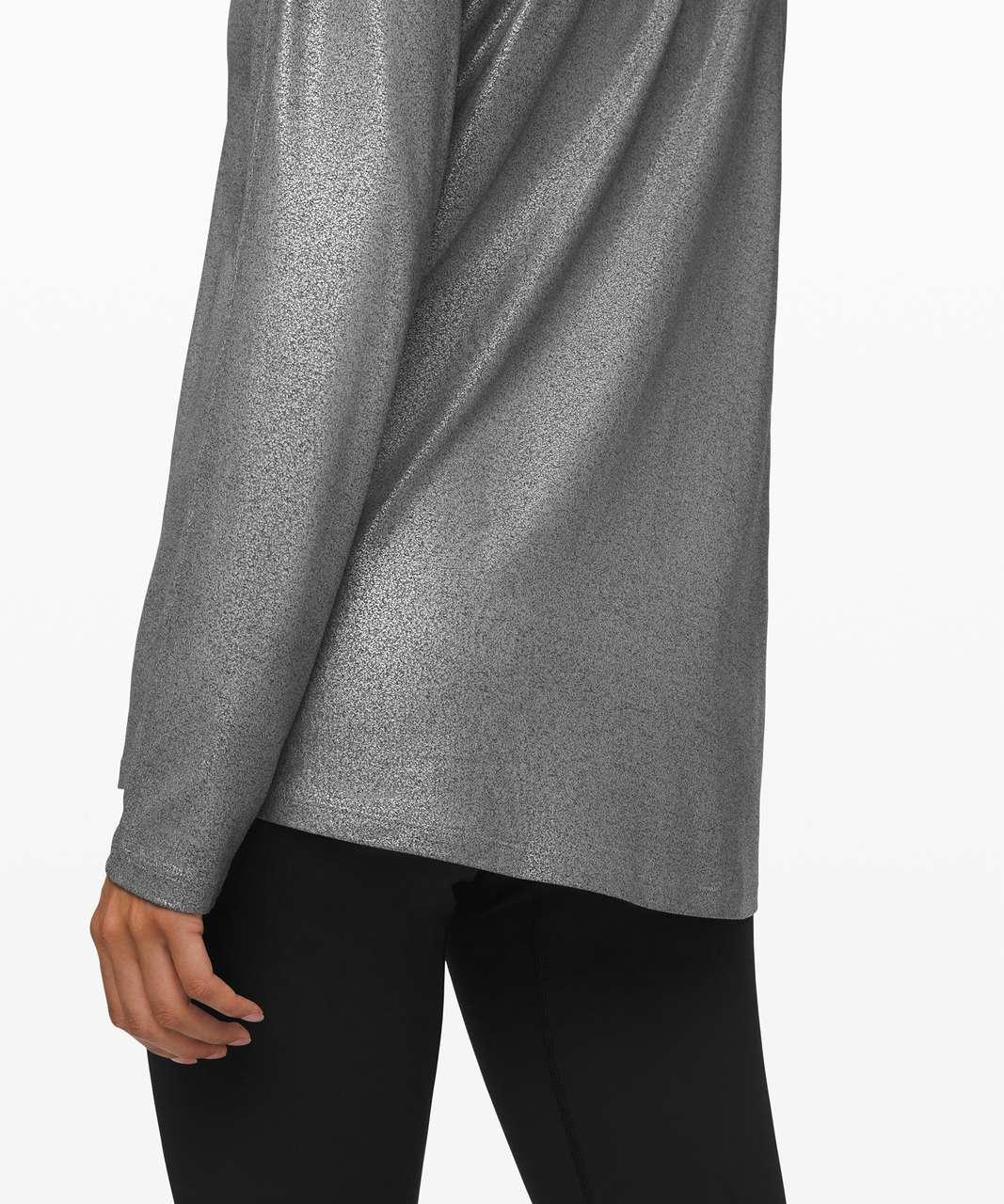 Lululemon Emerald Long Sleeve *Foil - Luminosity Foil Print Heathered Metal Grey Silver Foil