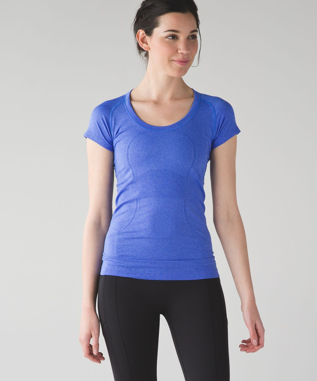 b33aa605c32 Lululemon Swiftly Tech Short Sleeve Scoop - Heathered Harbor Blue - lulu  fanatics