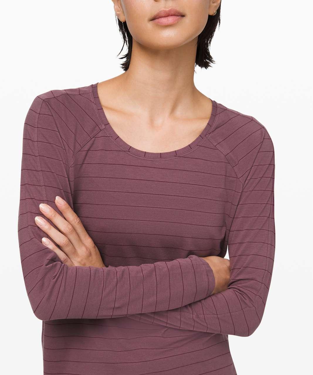 Lululemon Emerald Long Sleeve - Short Serve Stripe Antique Bark Garnet