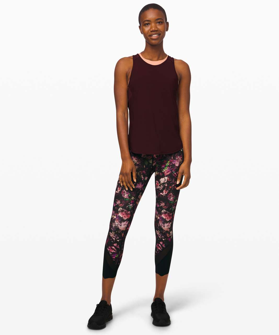 """Lululemon Wunder Under Crop High-Rise *Roll Down Scallop Full-On Luxtreme 24"""" - Floral Illusion Antique White Multi / Black"""