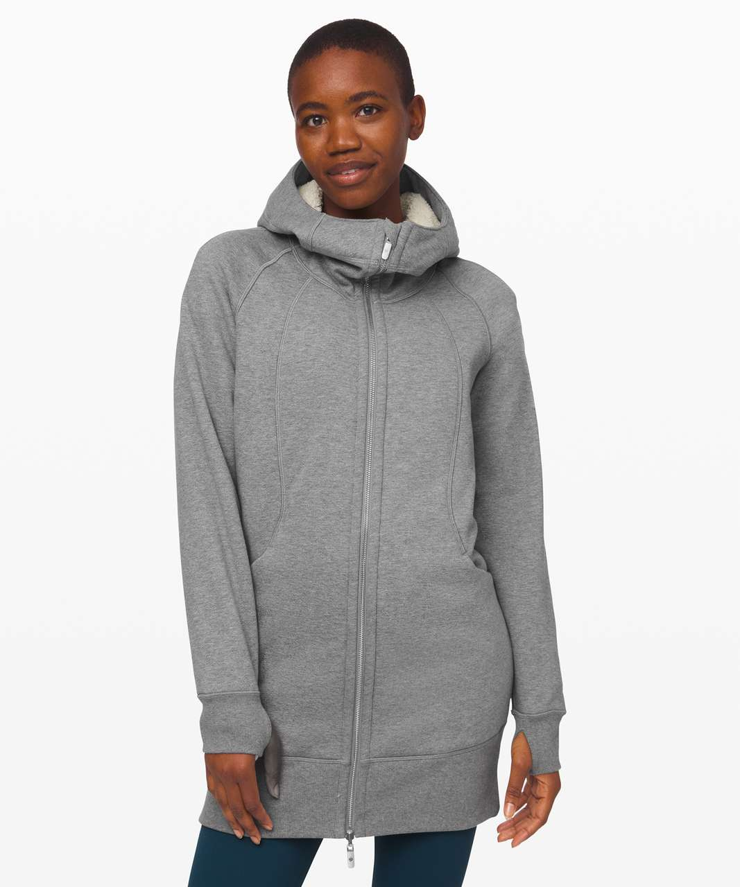 Lululemon Scuba Sherpa Hoodie *Long - Heathered Core Medium Grey / Light Ivory