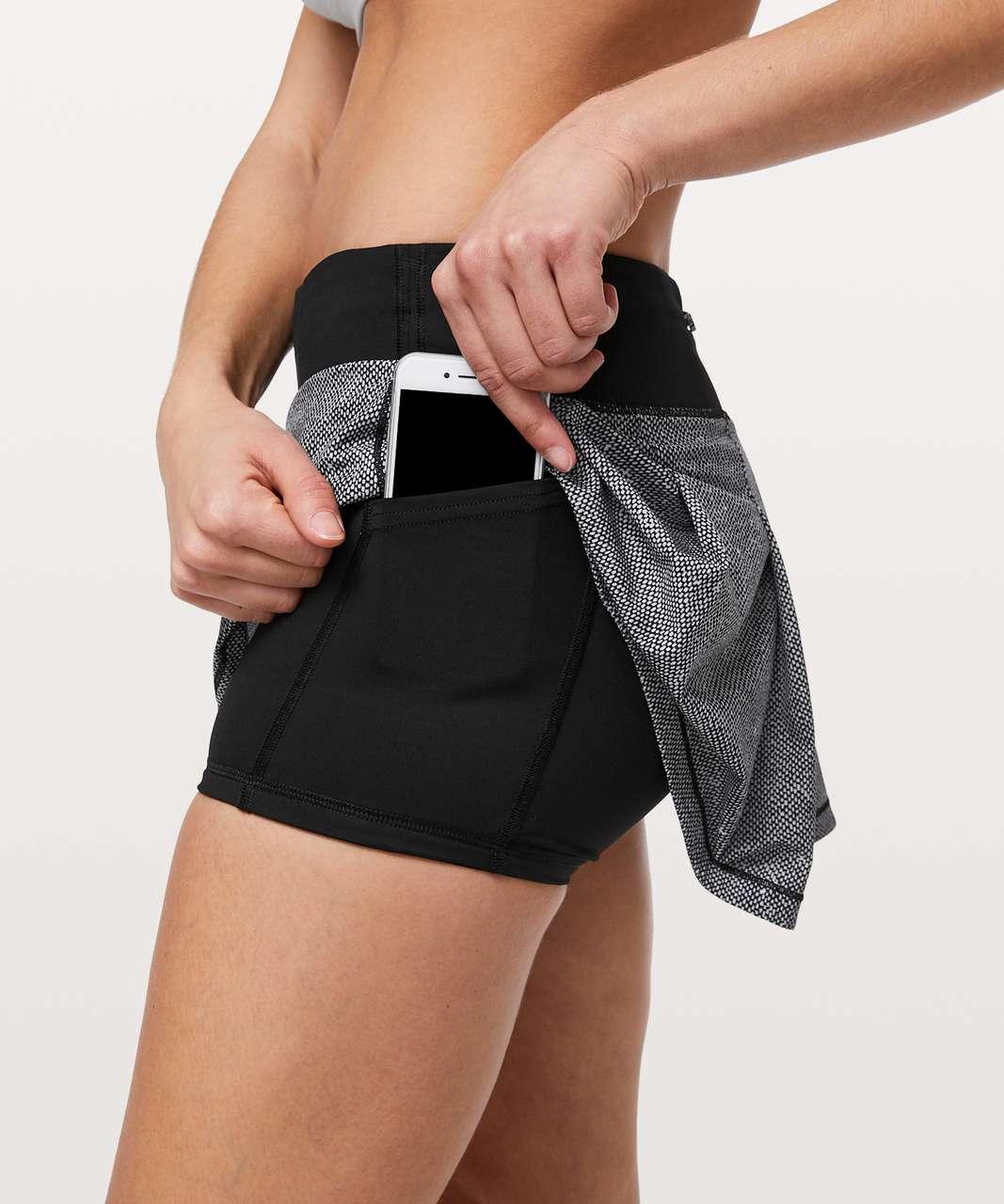 Lululemon Pace Rival Skirt II (Regular) *4-way Stretch - Dotscape Alpine White Black / Black
