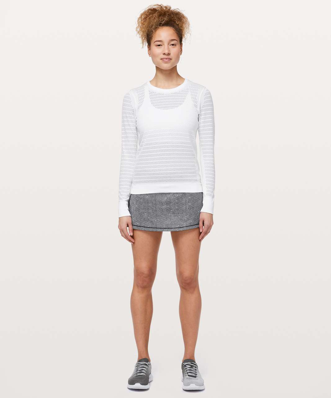 Lululemon Pace Rival Skirt II (Regular) *4-way Stretch - Dotscape Alpine White Black / Black
