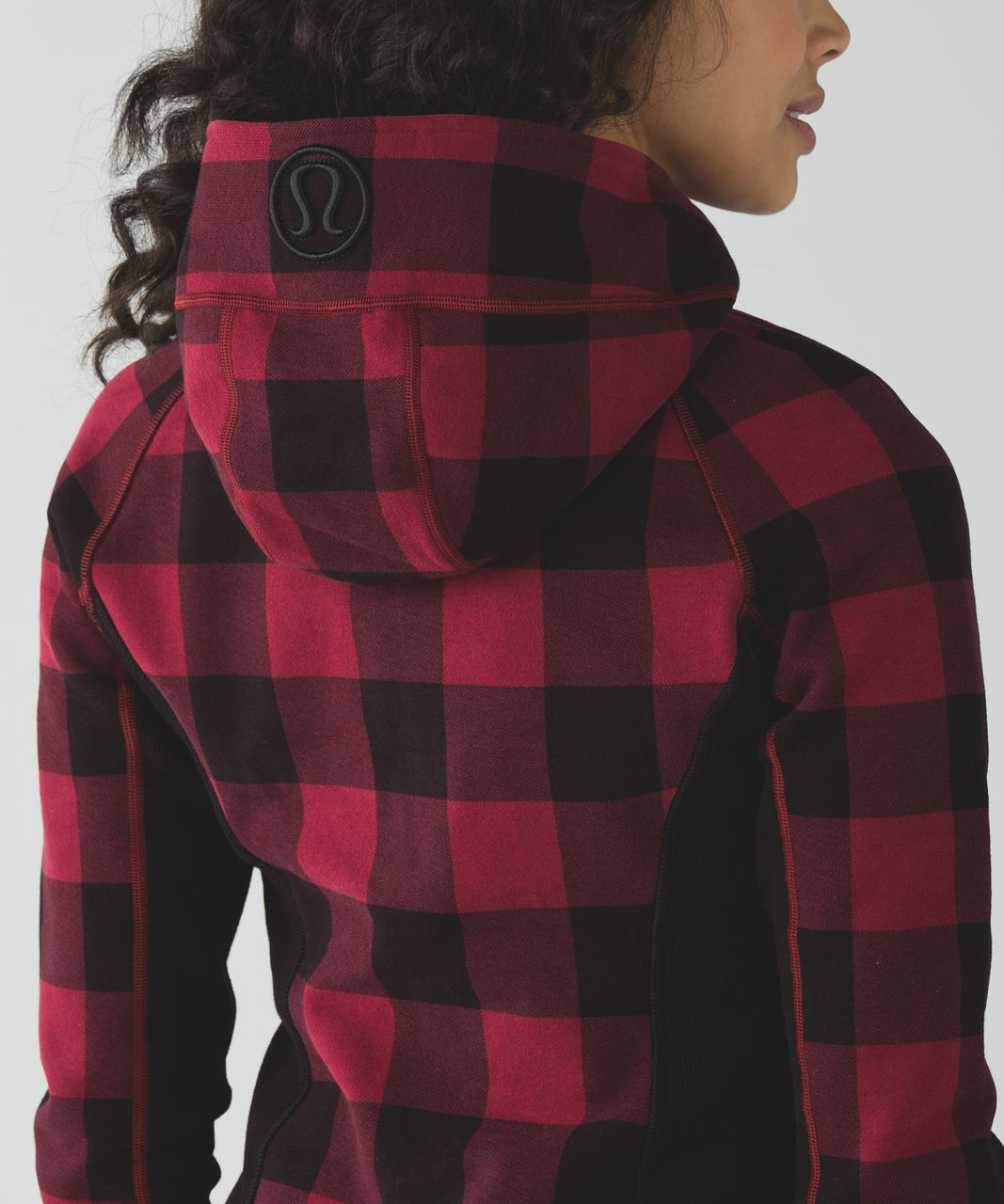 Lululemon Scuba Hoodie II - Mini Camp Check Printed Heathered Cranberry Black / Cranberry / Black