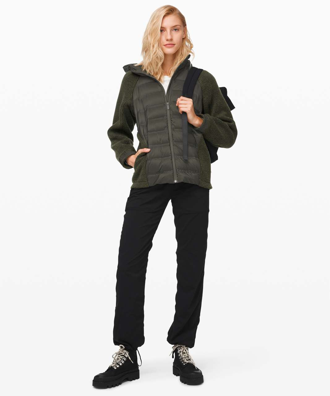 Lululemon Go Cozy Insulated Jacket - Heathered Dark Olive / Dark Olive