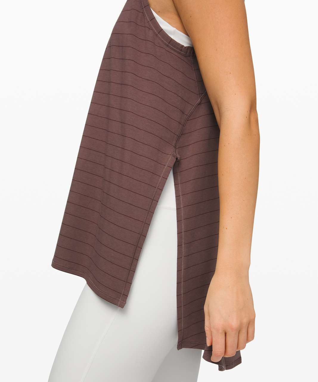 Lululemon Long for Length Tank - Short Serve Stripe Antique Bark Garnet