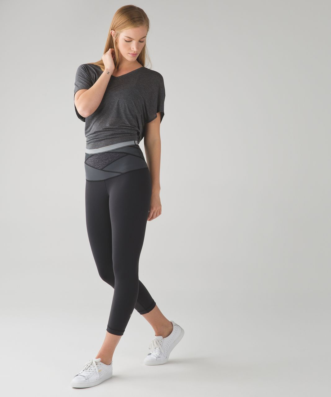 Lululemon Wunder Under Crop (Hi-Rise) (Full-On Luon) - Black / Irregular Spacebone Deep Coal Black / Battleship