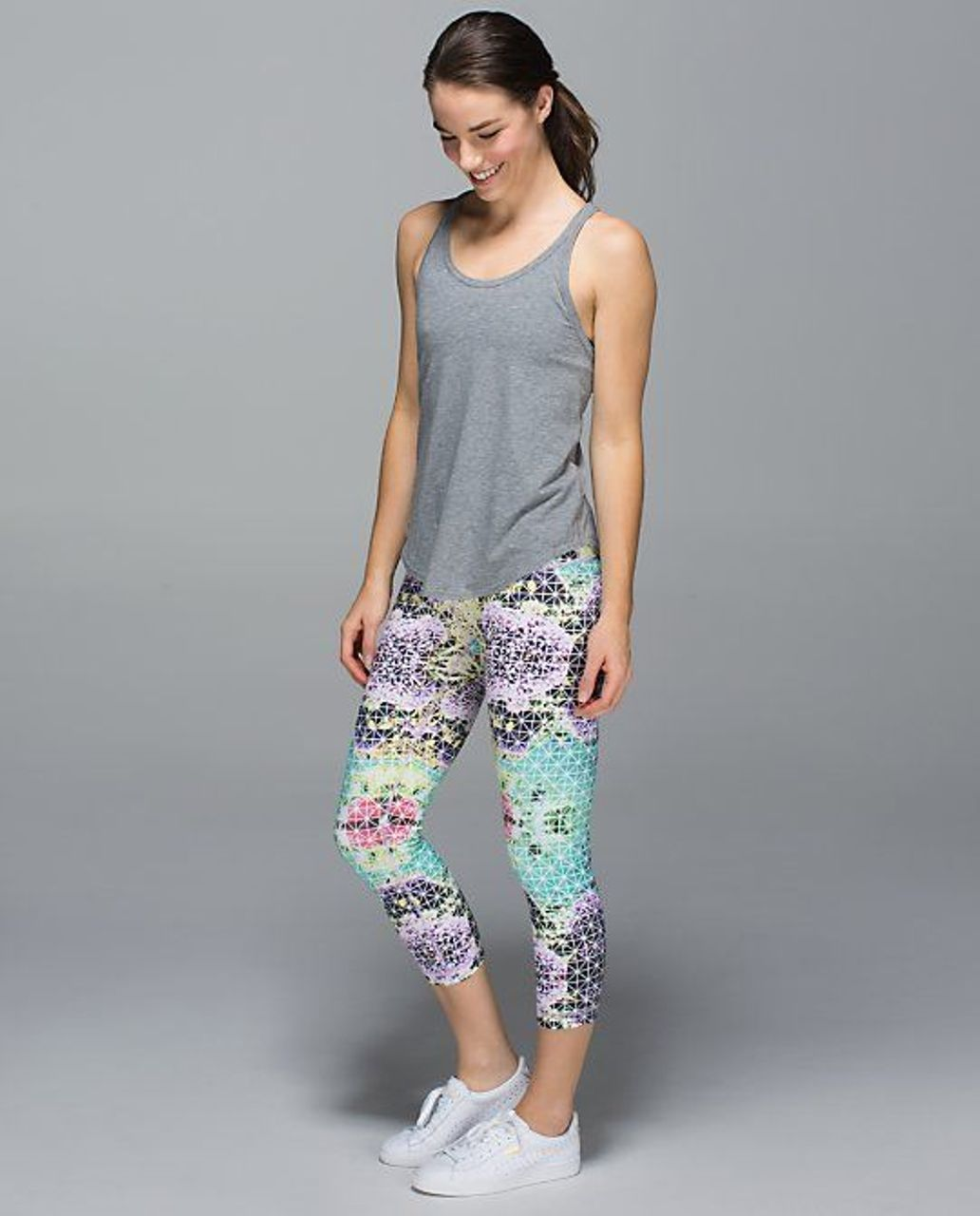 Lululemon Wunder Under Crop II *Full-On Luon (Roll Down) - Paradise Grid Very Green Multi